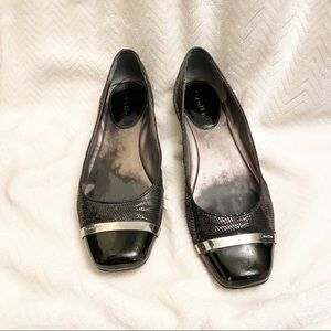 Calvin Klein basic black flats with capped toe